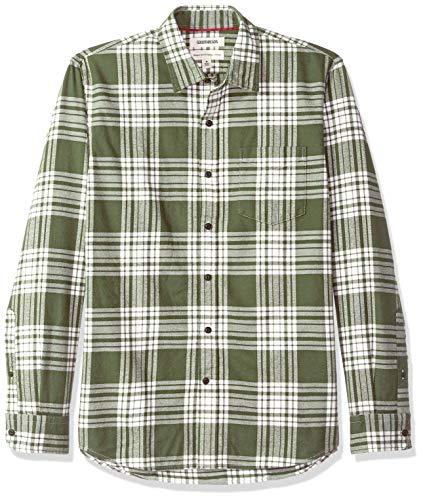Goodthreads Men's Standard-Fit Long-Sleeve Brushed Flannel Shirt, -olive plaid, - Long Sleeve Flannel