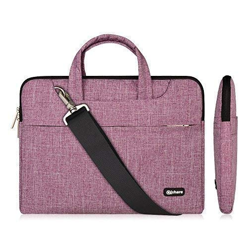 Qishare 15.6 16inch Laptop Case, Laptop Shoulder Bag, Multi-functional Notebook Sleeve, Carrying Case With Strap for Chromebook Macbook HP Stream Samsung Acer Asus Dell Lenovo(15.6-16'', Purple Lines)