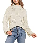 Sovoyontee Women's 100% Cotton Knit Pullover Fall Sweater Long Sleeve Mock Neck Tops