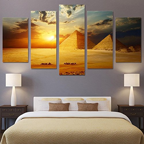 PEACOCK JEWELS [Large] Premium Quality Canvas Printed Wall Art Poster 5 Pieces / 5 Pannel Wall Decor Egyptian Pyramids Sunset Painting, Home Decor Pictures - Stretched