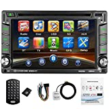 CATUO Double Din Stereo, Win CE Operation System with Bluetooth/DVD/Radio/USB/TF/AUX,6.2 inch HD Touch Screen with GPS Navigation,Rear view Camera Supported