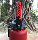 Handle for Hydro Flask - Paracord Survival Strap with Security Ring for Wide Mouth Water Bottles Carrier (Black/Red)