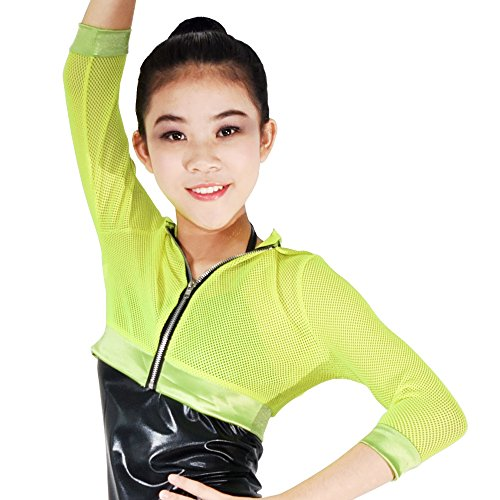Dress Hip Hop (MiDee Novelty Fishnet Hoodies Hip-Hop Costumes Hiphop Jacket 3/4 Length 5 Colors (LC, Yellow))