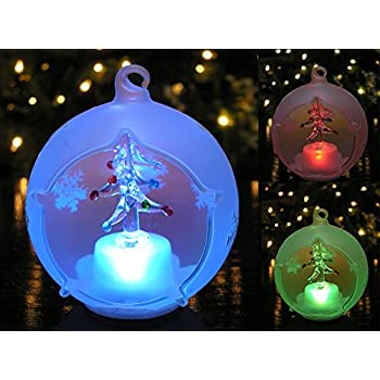 christmas globe ornament led lighted glass ball christmas tree decoration hand painted glittery snowflakes - Led Lighted Christmas Decorations