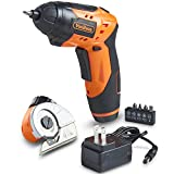 VonHaus Cordless Electric Screwdriver with Multi Cutter Attachment for Cardboard, Carpet, Crafts and Fabric - Rechargeable, LED Light with 3-Position Handle and 5 Screwdriver Bit Set