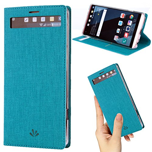 (DLHYOUNG LG V20 case Premium Leather PU Flip Wallet Case with View Window Stand Kickstand Card Holder Magnetic Closure TPU bumper full cover slim Leather Case for LG V20(Blue))