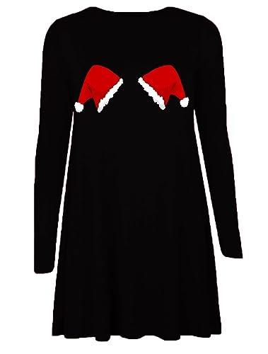 Classy Trendz-Aventi di Elf Santa Natale Print Vestito da skater da swing di Natale (Hat on Black, M...
