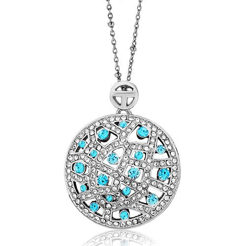 Pugster Round Pattern March Birthstone Aquamarine Swarovski Crystal Pendant Necklace For ()