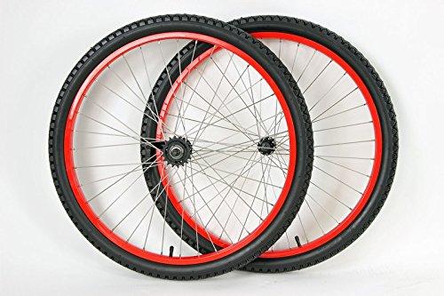 Rim Set Brake (MANGO 26 inch Coaster Brake Wheel Set Beach Cruiser Bike Bicycle with Tires and Tubes! (Red))