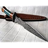 Poshland RAM-4789 Damascus Steel 14.50 Inches Dagger Knife - Stunning Exotic Handle (Color: brass)