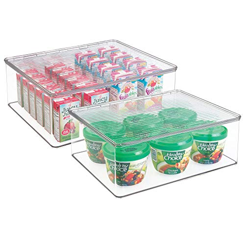 mDesign Plastic Stackable Kitchen Pantry Cabinet/Refrigerator Food Storage Containers Bins Boxes with Lid - Organizers for Packets, Snacks, Produce, Pasta, BPA Free, 2 Pack - Clear