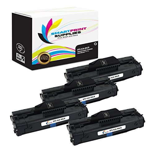 3200 Micr Toner (Smart Print Supplies C4092A 92A MICR Black Premium Compatible Toner Cartridge Replacement for HP LaserJet 1100 3200 Printers (2,500 Pages) - 4 Pack)