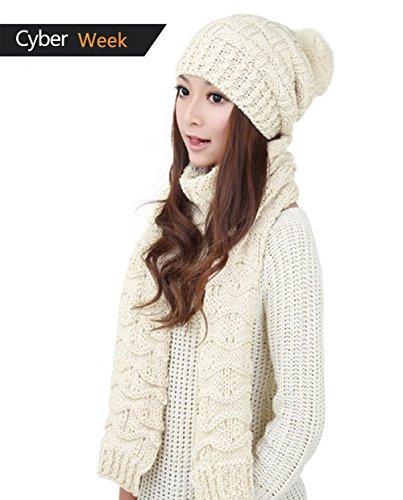 Winter Women Scarf Hat Set Knitted Skullcaps White - 6