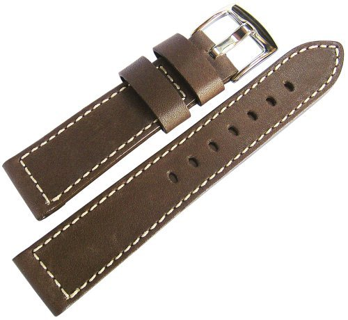 Fluco Snow Calf 22mm Brown Leather Watch Strap by Fluco