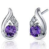 Radiant Teardrop 1.00 Carats Amethyst Earrings Sterling Silver