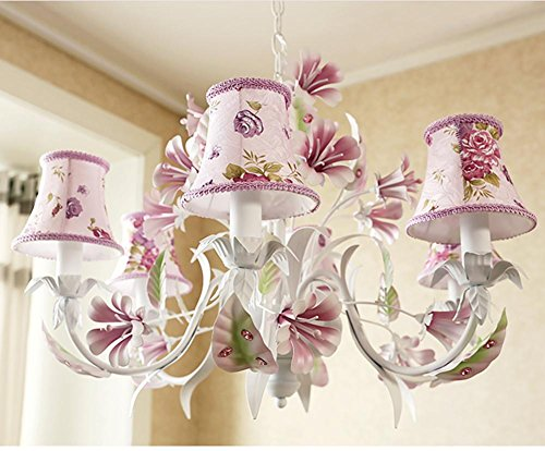 DGS Iron Cloth Hanging Ceiling Lamps Living Room Lamps Restaurant Irons Pink Flowers European Pastoral Style Lampshades Lighting Bulbs Flowers Ceiling (Mediterranean Bronze Four Light)
