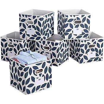 Foldable Cloth Storage Bins Basket Durable Fabric Drawer Organizers 12 Blue6  sc 1 st  Amazon.com & Amazon.com: Foldable Cloth Storage Bins Basket Durable Fabric Drawer ...