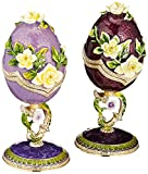 Design Toscano Spring Bouquet Collection Romanov Style Enameled Eggs: Purple Salvia and Lavender