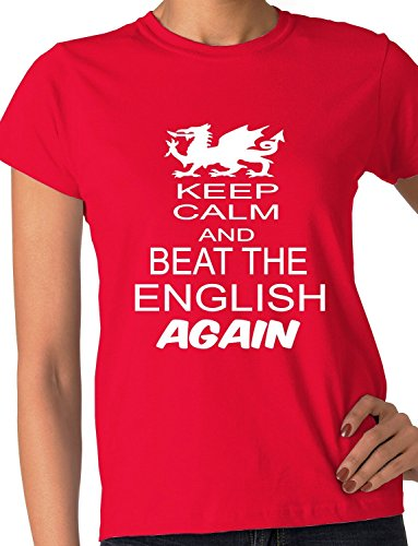 Print4ucouk Women's Welsh Rugby Wales Beat The English 6 Nations World Cup Skinny T-Shirt XX-Large Red Wales Rugby Six Nations