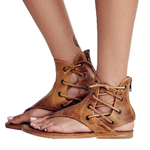Fheaven Donna Sandali Romani A Fondo Piatto T-strappy Sandali Aperti Alla Caviglia Sandali Con Cinturino Alla Caviglia Giallo
