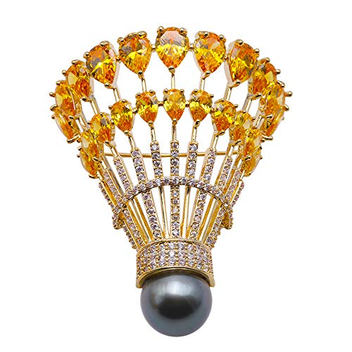 (JYX Tahitian Pearl Brooch 12.5mm Black Round Tahitian Pearl with Yellow Zircon Badminton Pin Brooches)