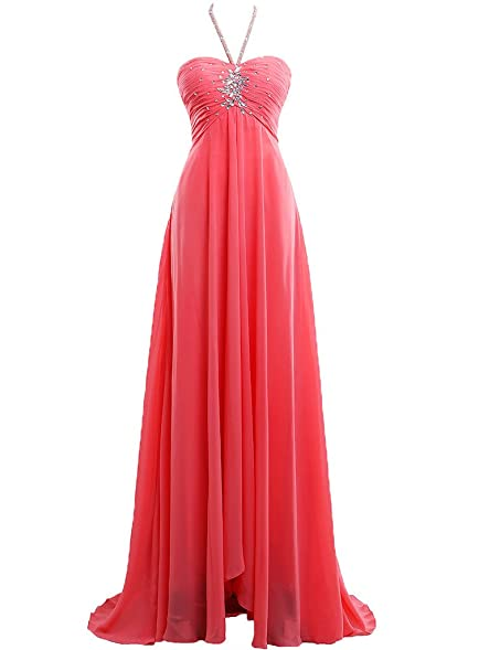 JAEDEN Womens Charming Halter Long Prom Dress Formal Chiffon Evening Dress Coral US2