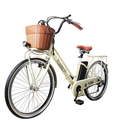 Cheap NAKTO 26″ City Adult Electric Bicycles and Assisted Bicycle for Men Woman with Removable 36V 10A Large Capacity Lithium Battery and Charger (26″ Classic-Pro)