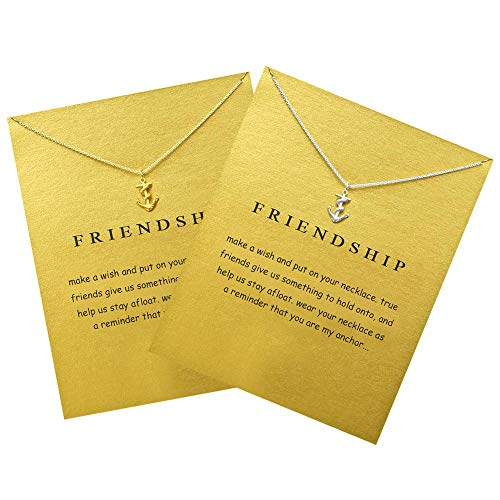 (ZCMG Geometric Necklace Friendship Good Luck Choker Collarbone Chain Triangle Elephant Sun Moon Chandelier Clavicle Necklace Bird Pendants Women Girls Birthday Gift Charms Jewelry Anchor 2 Pairs)