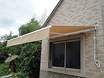 12 X 10 DIY Manual Retractable Awning Patio DeckSunshade Shelters Rain Shelter