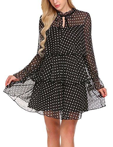 ELESOL Woman Long Flare Sleeve Ruffle Layered Shift Polka Dot Chiffon Dress