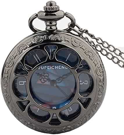 Zxcvlina Exquisite Hollow Vintage Quartz Pocket Watch Black with Chain Blue Dial Retro Flip Watch for Boys and Girls Metals Suitable for Mens Pocket Watch Gift