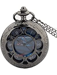Exquisite Hollow Vintage Quartz Pocket Watch Black with Chain Blue Dial Retro Flip Watch for Boys and Girls Metals Suitable for Mens Pocket Watch Gift
