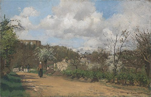 'Camille Pissarro View From Louveciennes ' Oil Painting, 24 X 38 Inch / 61 X 95 Cm ,printed On Polyster Canvas ,this Cheap But High Quality Art Decorative Art Decorative Prints On Canvas Is Perfectly Suitalbe For Nursery Decor And Home Decoration And Gifts