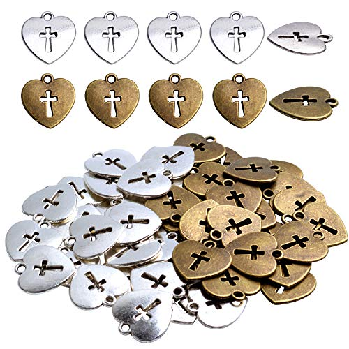 - Hearts Charms 50 Pieces Antique Love Heart with Cross Charms Pendants Love Heart Cross Charms for DIY Necklace Bracelet Jewelry Making Accessories, 17x16mm - Antique Silver and Bronze Color