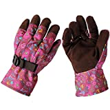 Fashionable Gardening and Yard Work Gloves for Women - Breathable Polyester with Flannel Palm and Adjustable Wrist Straps - Size Small (2 Pair) - Burgundy color