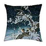 Winter Bird On Tree Polyester Square Decorative Throw Pillow Case Shell Cushion Cover 22 X22 Inch