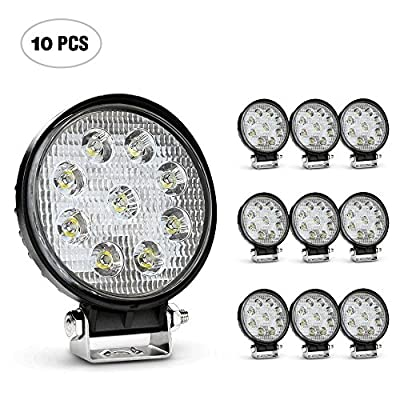 Nilight 4.5 Inch Round 27W Spot LED Work Light Fog Light Waterproof Offroad Driving Led light for Jeep SUV Boat Truck ATV Car, 2 year Warranty