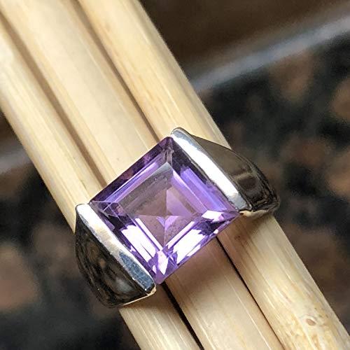 (Natural 2ct Purple Amethyst 925 Solid Sterling Silver Princess Cut Men's Ring sz 6)
