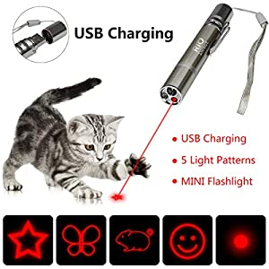 RIO Direct Chase Cat Toy, Rechargeable 3 in 1 Laser Pointer, Multi Pattern Funny & Mini Flashlight Interactive LED Light Entertain and Train Your Cat Kitten Dog Pet - USB Charging 25