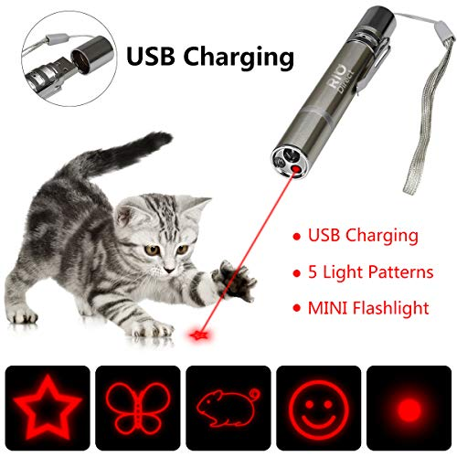 Dog Spot Usb - RIO Direct Chase Cat Toy, Rechargeable 3 in 1 Laser Pointer, Multi Pattern Funny & Mini Flashlight Interactive LED Light Entertain and Train Your Cat Kitten Dog Pet - USB Charging