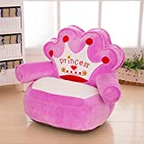 MAXYOYO Prince and Princess Imperial Crown Plush Bean Bag,Pink Blue Chair Seat for Children,Cartoon Tatami Chairs,Birthday Gifts for Boys and Girls (pink princess)