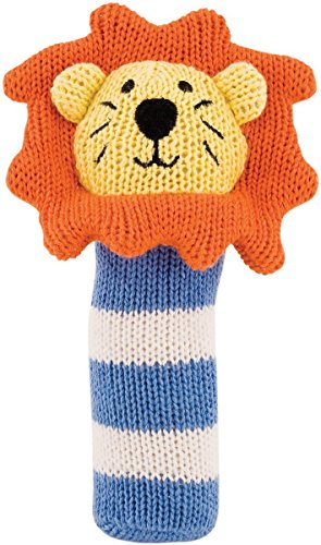 (Rich Frog K'NIT Squeak Easy Lion Baby Squeaky Toy, Multi-Colored Cotton Knit Animal Toy for Baby,)