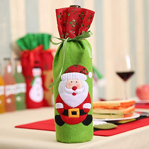 Dasanito3089 Champagne Bottle Holder Christmas Decorations Santa Claus Wine Bottle Bags Snowman Gifts Champagne Sequins Holders Xmas Home Dinner Party Table ()