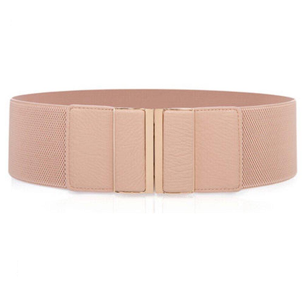 CoutureBridal Womens Fashion Mental Buckle Wide Stretch Elastic Waist Belts Dress Waistband