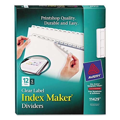 Avery Index Maker Clear Label 8-12 x 11 Inches Dividers with 12 White Tabs, 5 Pack (11429) by Avery