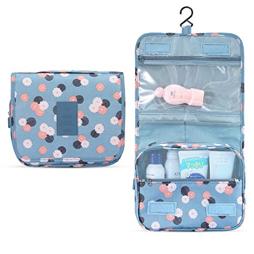 Hanging Toiletry Bag with Sturdy Hook, Travel Toiletry Bag for Women and Men, Makeup Bag Organizer with Detachable Clear Compartment