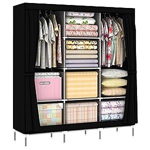 OUMYJIA 69 inches Non-Woven Fabric Organizer Portable Clothes Closet Wardrobe Storage, 51L x 17.5W x 69H inches, Black