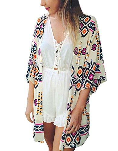 Chiffon Tribal Printed Loose Cardigan Kimono Tops Beach Bikini Cover up