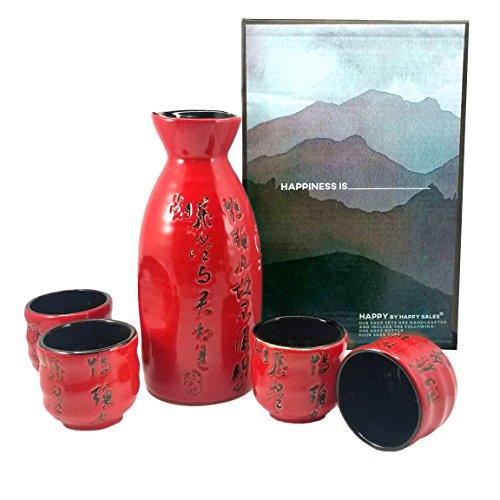 (Happy Sales HSSS-PMR06, Japanese Sake Set Calligraphy Red & Black)