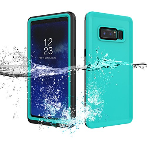 Galaxy Note 8 Waterproof Case, AICase IP68 Outdoor Underwater Transparent Protective Cover Full Body Shockproof Dustproof Dirtyproof with Kickstand for Galaxy Note 8 (2017) (Grass Blue/Black)